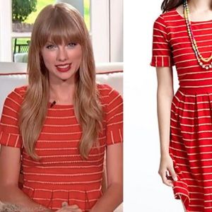 Anthropologie Red Scallop Stripe Dress Size M